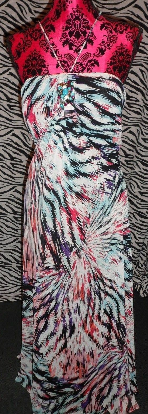 Butterfly Multi Colour Maxi Dress With Bead Trim Size 16 Wedding Holiday NWOT