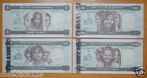 1997-2004 Eritrea 1-5 50-100 Nakfa Banknote Set Paper money 10-20