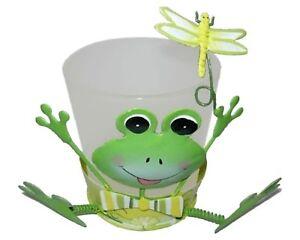 Votivglas-fuer-1-Teelicht-Frosch-mit-Wackelbeinen-Metall-gefrostetes-Glas