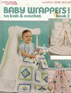 Leisure-Arts-689-Baby-Wrappers-to-Knit-amp-Crochet-Book-2-Blankets-1988-7-Designs