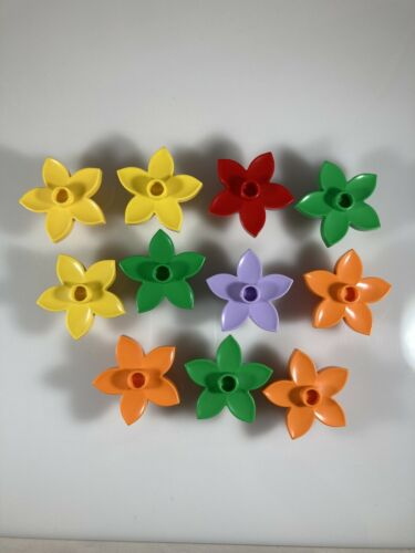 LOT 11 LEGO DUPLO Flower Bricks Purple Orange Yellow Green Red EUC