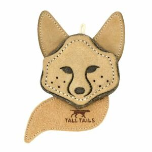 "Tall Tails 4"" SCRAPPY FOX Natural Leather/Wool Dog Toy"