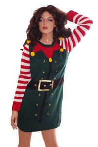 Womens Elf Jingle Bells Fun Ugly Christmas Sweater Party Dress Small