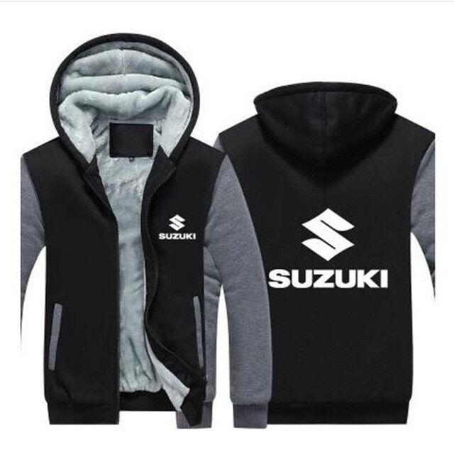 Suzuki Sudadera con Cremallera Chaqueta Abrigo Cálido de Invierno Negro y gris