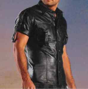 NEW-Short-Sleeve-Leather-Shirt-Men-039-s-Black