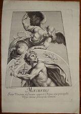 Stampa antica old print Mercurius Mercurio dorigny raffaello raphael 1695 planet