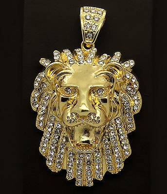 """Mens Gold Iced Out Lion Pendant Hip-Hop 30"""" Rope Necklace Chain"""
