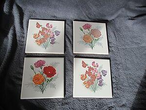 4-anciens-carreaux-ceramique-peinte-emaillee-fleurs-des-champs-oeuillets-1950-60