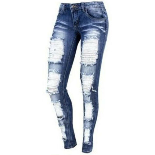 Women High Waist Ripped Frayed Denim Jeans Trousers Skinny Long Pants Jeggings