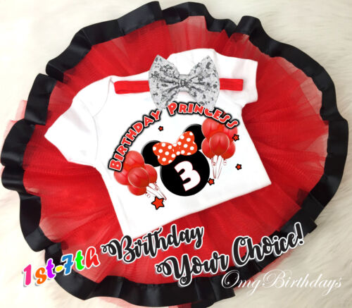 7th Birthday Girl Tutu Outfit Headband Set Red Black Minnie Mouse First 1st
