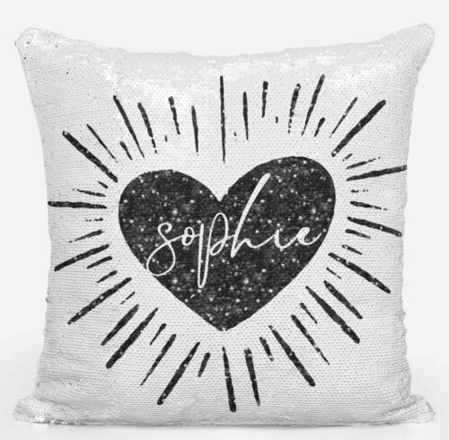 Personalised Heart Any Name Magic Reveal Silver Sequin Cushion Cover Gift 2