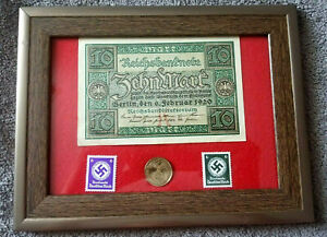German Rare  2 Rp Coin with Stamp /& 100 Mark Bill in Disp frame