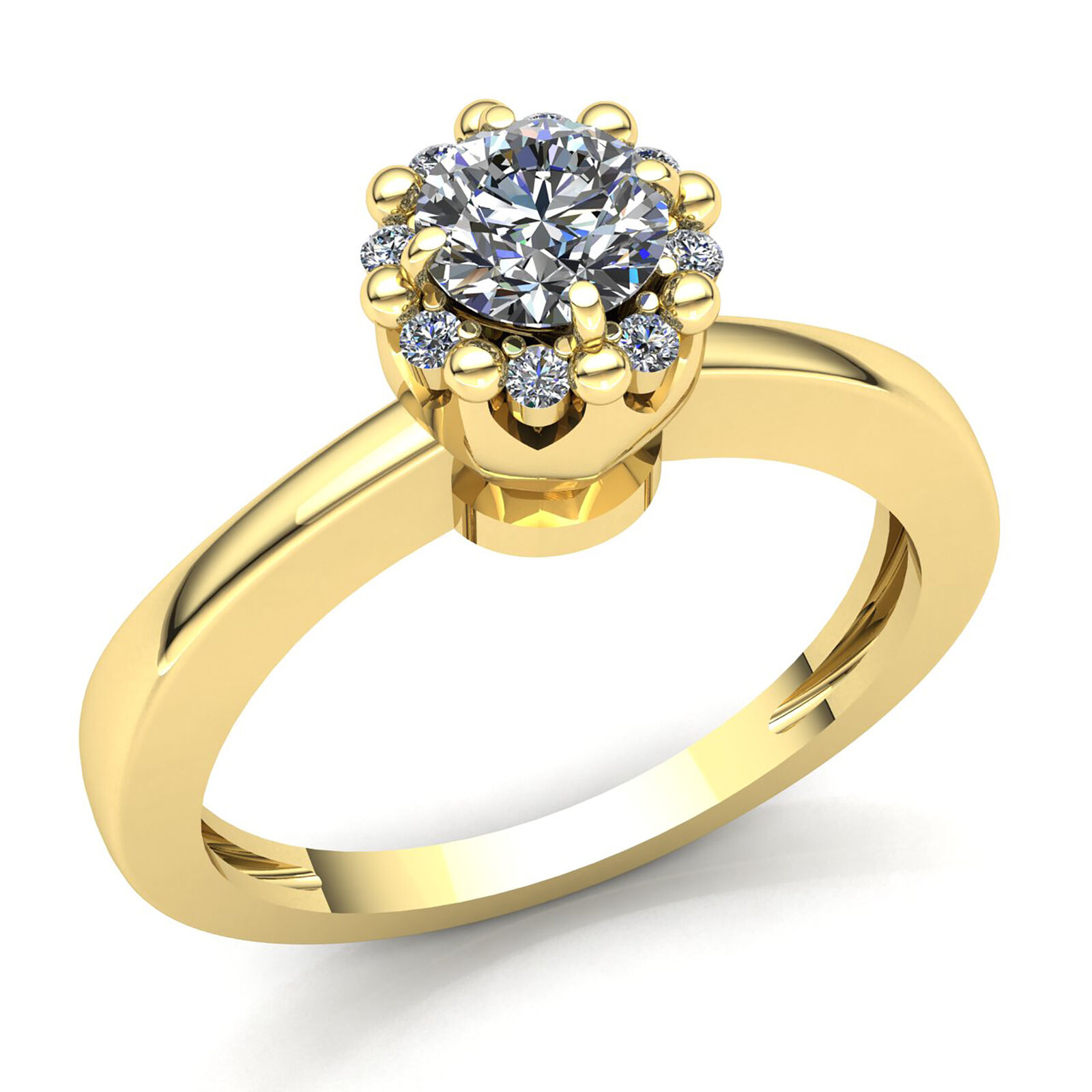 Genuine 0.2ct Round Diamond Ladies Cluster Solitaire Engagement Ring 14K gold