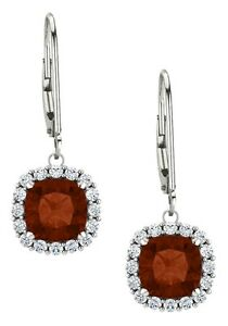 Sterling-Silver-Genuine-1-70-tcw-6mm-Garnet-Leverback-Halo-Earrings