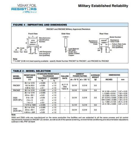 1x RNC90Z 252R00 BR Vishay RNC90 Series Metal Foil Resistors Y1189252R000BR0L