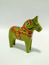 "5"" Magde Green Olive Swedish Dala Horse Folk Art Wood Carving Nils Olsson SIGNED"