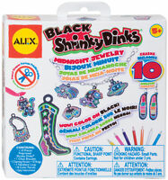 Shrinky Dinks Midnight Black Jewelry 10 Precut Shrinky Dinks 494g Alex 5+