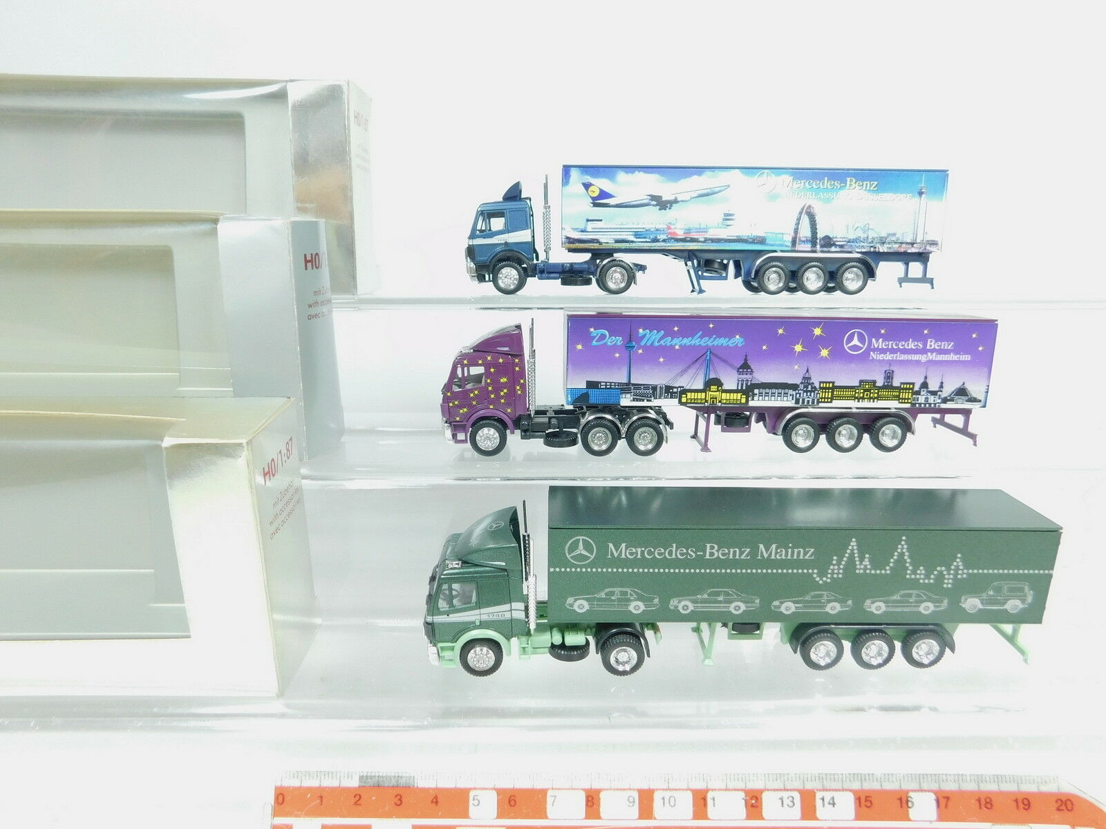 AZ411-0, 5 x Herpa Exclusive H0 (1 87) Lorry MB  Mainz +Düsseldorf+Mannheim