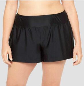 Ava-amp-Viv-Swim-Black-Short-Shorts-Bottoms-Women-039-s-Plus-Size