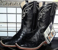 d1a4fb2b5079 Anderson Bean Black Square Toe Full Quill Leather Ostrich Cowboy Boots 11 D