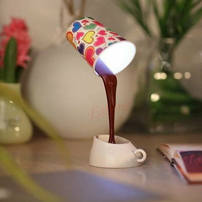 Novelty DIY Table LED Lamp Home Romantic Pour Coffee Usb Battery Night Light