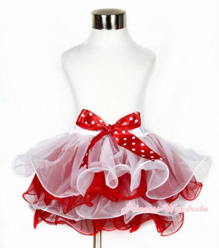 XMAS White Hot Red Flower Petal Girl Pettiskirt with Red White Dot Bow NB-8Year