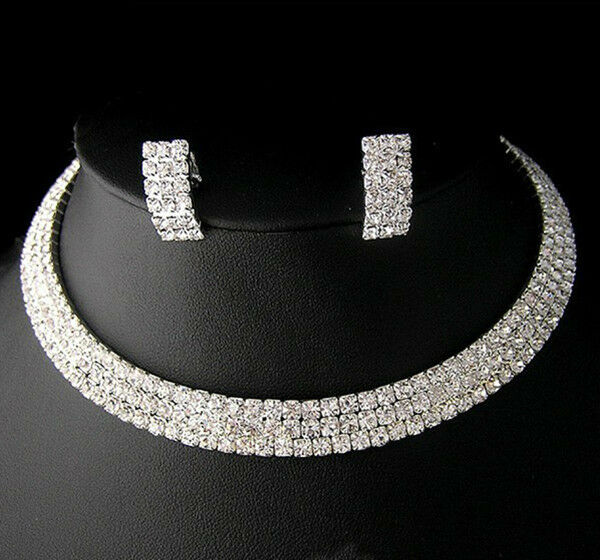 NR03 3Rows Party Wedding Bridal lady gift Jewelry set  crystal necklace earring