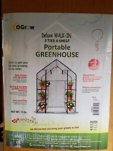 Ogrow-Deluxe-Walk-In-3-Tier-6-Shelf-Portable-Greenhouse-NIB