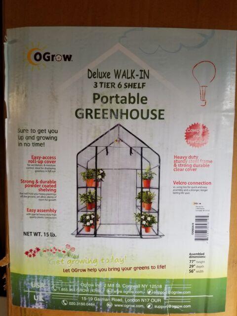 Ogrow Deluxe Walk-In 3 Tier 6 Shelf Portable Greenhouse NIB