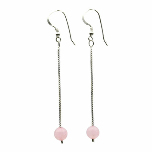 6mm Round Stone Drop 925 Sterling Silver Box Chain Stiletto Earrings