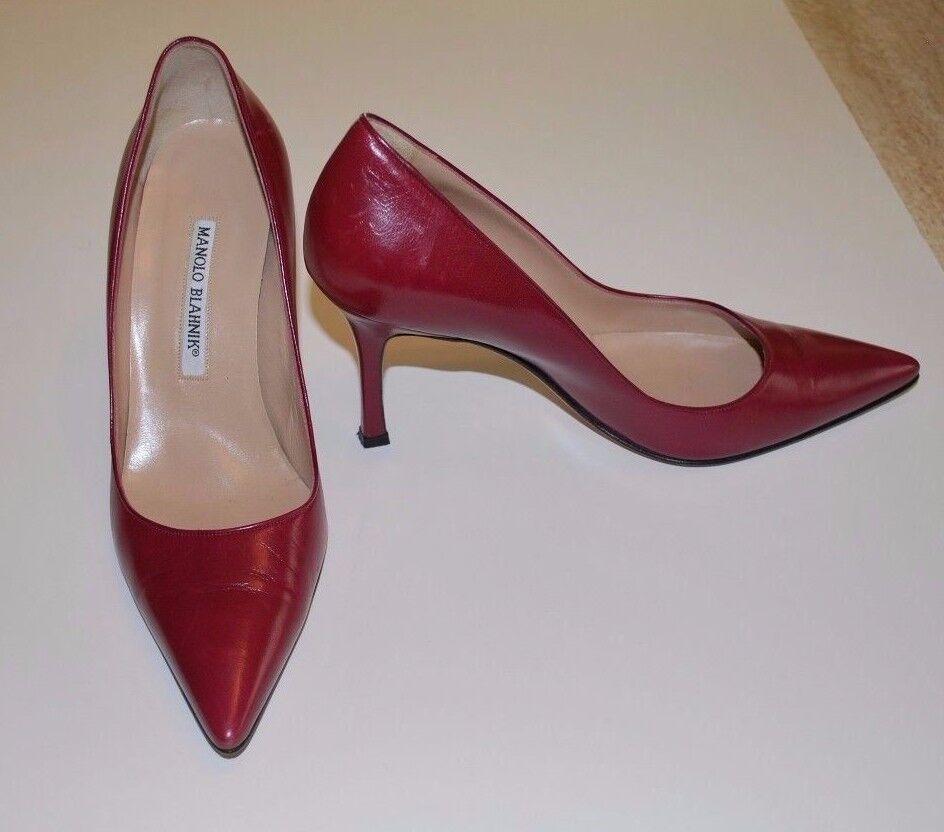 negozio online Beautiful Designer MANOLO BLAHNIK Burgundy Pump scarpe Dimensione 37-1 37-1 37-1 2  Sconto del 60%