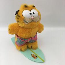 """1981 80s Dakin Plush Surf Board Kitty Garfield The Cat w/Hawaiian Shorts 7"""" Vtg"""