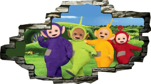 Teletubbies Tinky Winky Dipsy 3d Smashed Wall View Sticker Poster Vinyl Z117