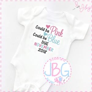 Pregnancy announcement /'Could be pink//blue/'new baby gift Personalised Baby Vest
