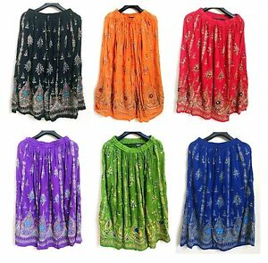 Indian-Sequin-Skirt-Boho-Bollywood-Belly-Dance-Hippie-Gypsy-Rayon-Maxi-Skirts