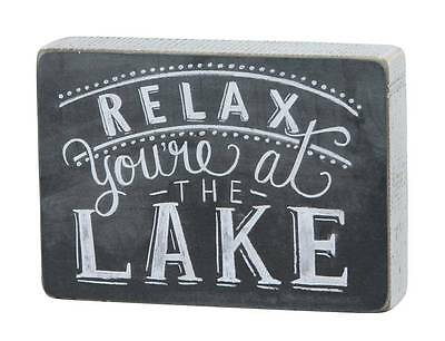 """Relax You're at the Lake Wooden Box Sign 8"""" x 5"""" Chalk Look Cabin Lake House"""