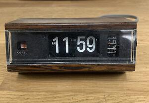 Vintage-COPAL-Model-227-Flip-Clock-w-Alarm-Wood-Grain-Made-in-Japan-WORKING