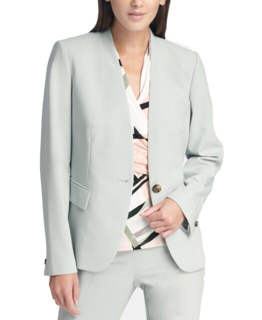 DKNY Women's Blazer Green Size 10 Single-Button Collarless Seam $119 #176