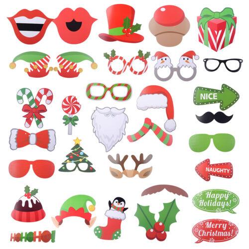 32stk Photo Booth Requisite Bilderrahmen Weihnachten lustige Foto Accessoires