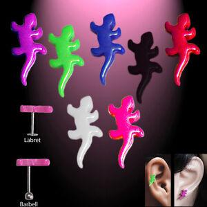 Tragus-Helix-arete-pendientes-labret-Barbell-lagarto-Gecko