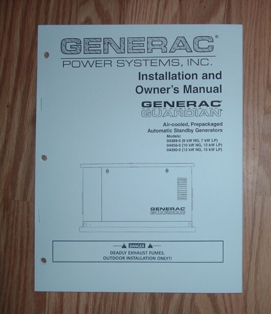 Generac 04389 0 04456 0 04390 0 Guardian Standby Generator Owners Manual 3 For Sale Online