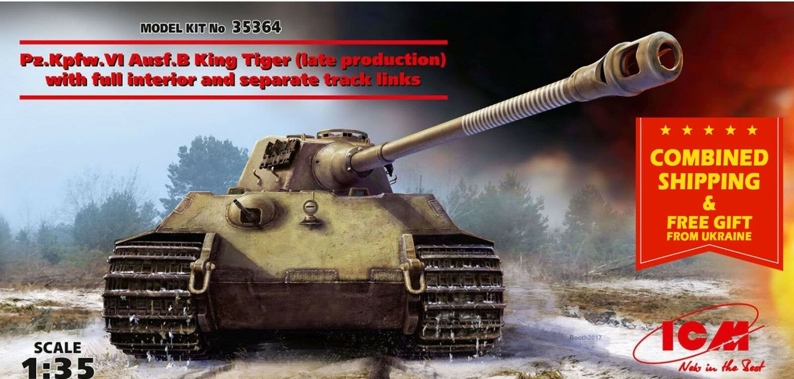 PZ.KPFW.VI AUSF.B KING TIGER (LATE PRODUCTION) WITH FULL INTERIOR 1 35 ICM 35364