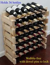 Stackable Wine Storage Rack 36 Bottles (6X6), solid wood,  Cellar Shelves WN36