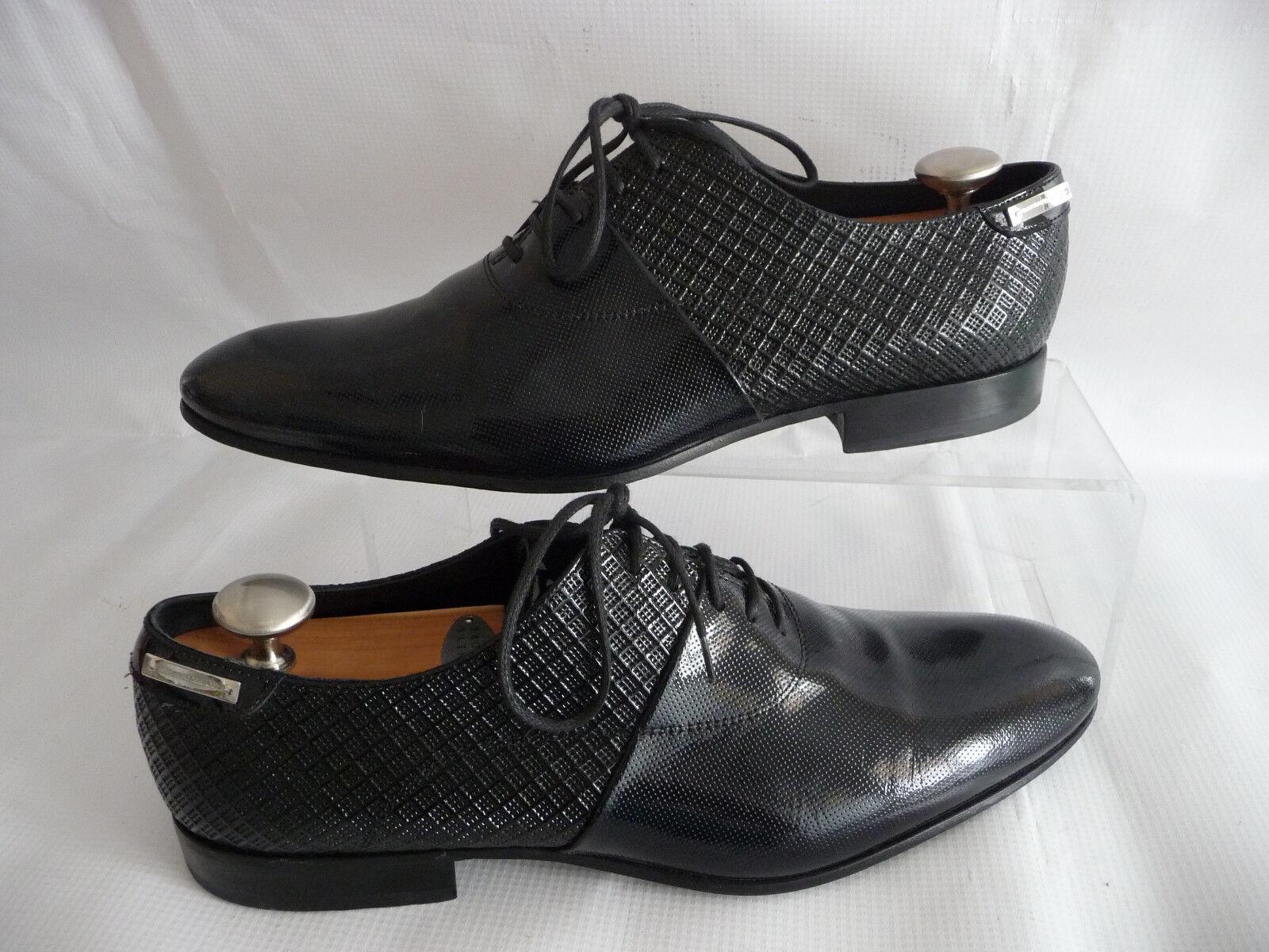 ALLESANDRO DELL ACQUA Mens 44.5 Black 11.5 Oxfords Woven Patent Leather