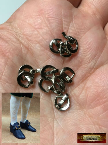 M01414x5-Silver MOREZMORE 10 Metal 1:6 Scale Mini 4mm Belt Doll Shoe Buckles
