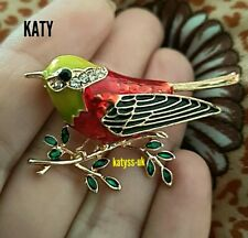Christmas Gold Small Red Robin Bird Green Brooch Diamante Pin Crystal Broach
