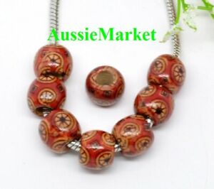 50-x-wooden-wood-printed-beads-12mm-x-11mm-african-art-print-large-big-hole-red
