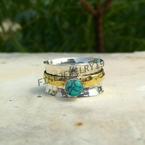 Turquoise-Ring-925-Sterling-Silver-Spinner-Ring-Meditation-Statement-Jewelry-U00