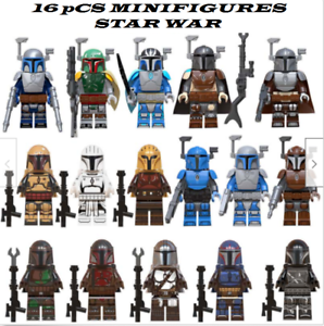 Collection 16 pcs Minifigures Mandalorian Army Star War Boba Fett Jango MOC