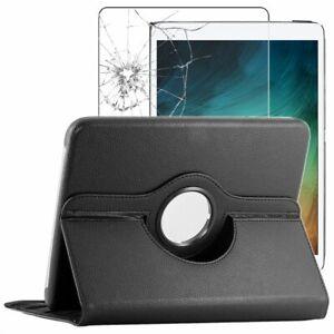 Coque Samsung Galaxy Tab S7+ SM-T970 Etui Rotatif PU Cuir + VERRE Trempé Noir